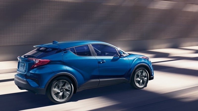 2019 Toyota CH-R XLE shown in Blue Eclipse Metallic.